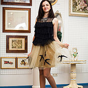 """Одежда ручной работы. Ярмарка Мастеров - ручная работа -50%Дизайнерская юбка""""Стаи птиц"""". Handmade."""