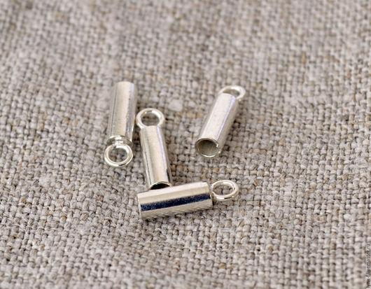 Для украшений ручной работы. Ярмарка Мастеров - ручная работа. Купить Концевики 1 ПАРА серебро 925, d 2мм. Handmade.