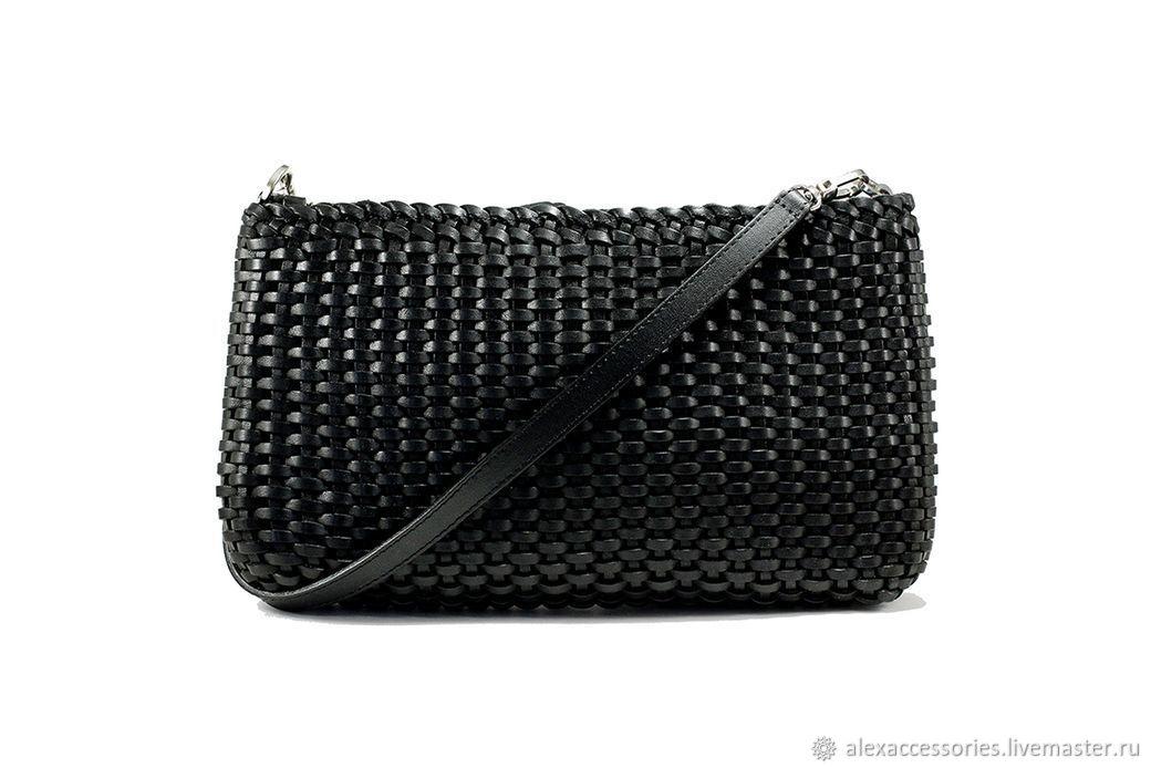 Черная кожаная плетеная сумка, Классическая сумка, Москва,  Фото №1