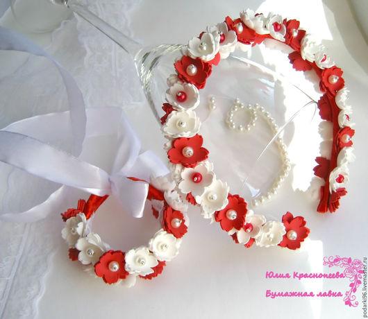 Диадемы, обручи ручной работы. Ярмарка Мастеров - ручная работа. Купить Ободок и браслет с красными и белыми цветами из фоамирана. Handmade.