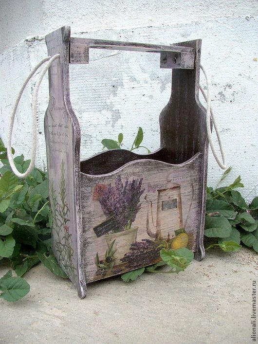 Корзины, коробы ручной работы. Ярмарка Мастеров - ручная работа. Купить Короб для бутылок Lavandula темный. Handmade. Короб
