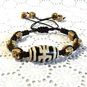 handmade. Livemaster - original item Bracelet braided: With a JI bead made of waxed cotton cord. Handmade.