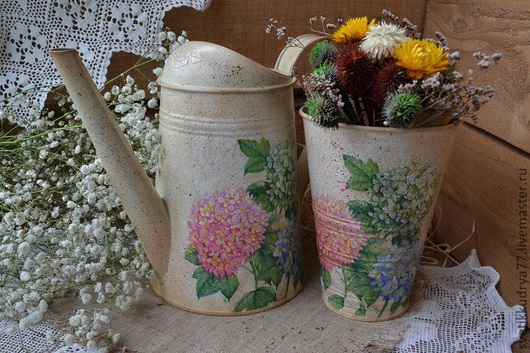 """Лейки ручной работы. Ярмарка Мастеров - ручная работа. Купить Набор """"Гортензия"""". Handmade. Лейка декупаж, ваза для сухоцветов, цветы"""