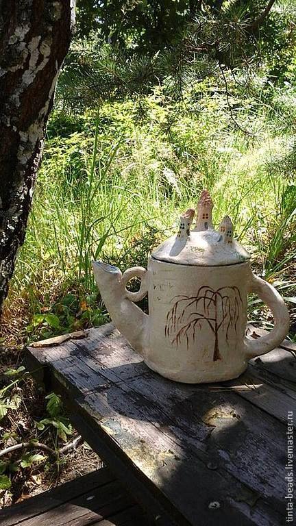 Чайники, кофейники ручной работы. Ярмарка Мастеров - ручная работа. Купить Чайник Осенняя сказка. Handmade. Бежевый, Керамика, сказка