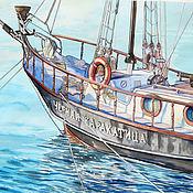 Картины и панно handmade. Livemaster - original item Painting watercolor big Black cuttlefish journey for the office. Handmade.