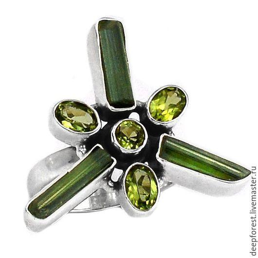 """Кольца ручной работы. Ярмарка Мастеров - ручная работа. Купить Кольцо зеленый турмалин - верделит и арбузный турмалин """"Мой талисман"""". Handmade."""
