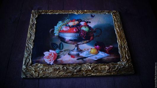 """Натюрморт ручной работы. Ярмарка Мастеров - ручная работа. Купить Панно """" Фруктовое """". Handmade. Комбинированный, натюрморт с фруктами"""