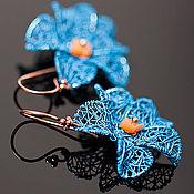 """Украшения ручной работы. Ярмарка Мастеров - ручная работа Серьги """"Blue violets"""". Handmade."""