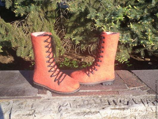 Обувь ручной работы. Ярмарка Мастеров - ручная работа. Купить ботинки женские Коралловые. Handmade. Ярко-красный, подарок женщине