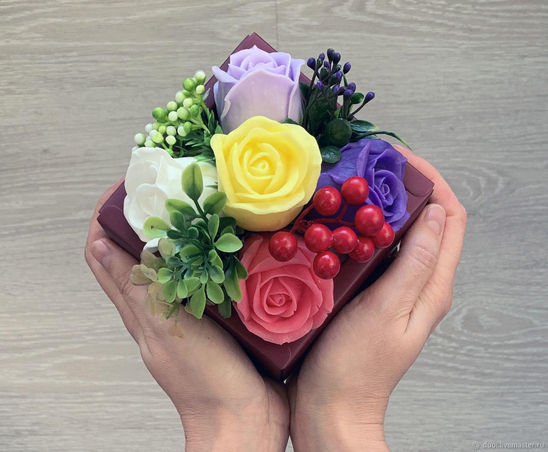 Мыло ручной работы. Ярмарка Мастеров - ручная работа. Купить Мыльный букет Фиолетовые розы. Handmade. Мыльные цветы