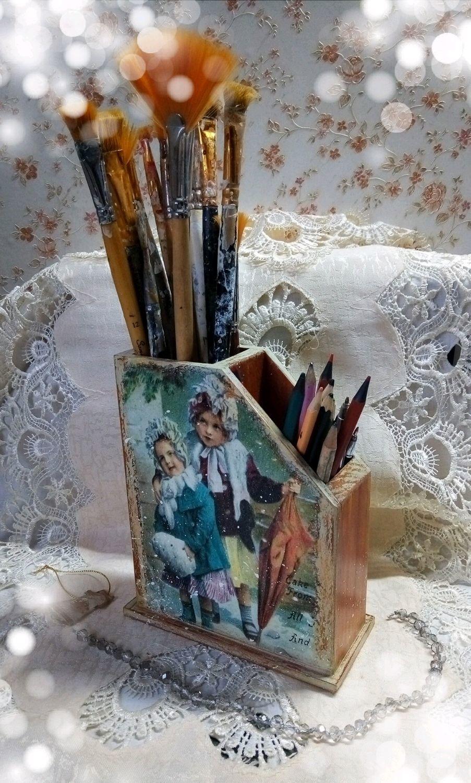 Подставка деревянная для карандашей двойная  Детство, Карандашницы, Москва,  Фото №1