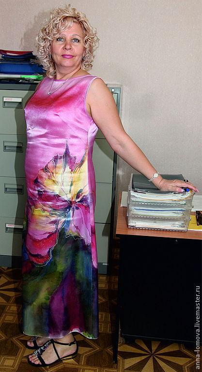 """Роспись для """"Розового платья с цветком"""" на шелковом атласе. Анна Ломова. Ярмарка Мастеров."""