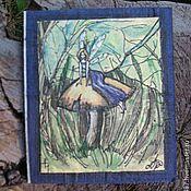 """Открытки ручной работы. Ярмарка Мастеров - ручная работа авторская открытка """"Фея на грибке"""". Handmade."""