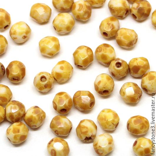 Для украшений ручной работы. Ярмарка Мастеров - ручная работа. Купить 50шт 4мм Чешские граненые бусины белый мрамор Fire polished beads. Handmade.