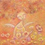 """Картины и панно ручной работы. Ярмарка Мастеров - ручная работа """"Ангел Осень"""" Картина-настроение. Холст, акрил.. Handmade."""