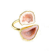 Украшения handmade. Livemaster - original item Pink ring with quartz
