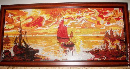 """Пейзаж ручной работы. Ярмарка Мастеров - ручная работа. Купить Картина вышивка крестом """"Алые паруса или Вечер у моря"""". Handmade."""
