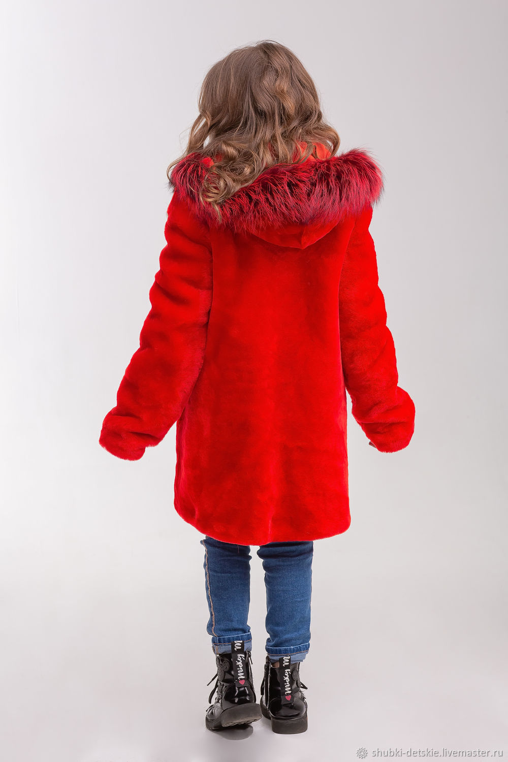09123080c1c0 Clothes for Girls handmade. Order The red fur coat of Mouton. Kids fur coat