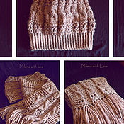 Аксессуары handmade. Livemaster - original item Knitted cappuccino set, knitted hat and knitted scarf.. Handmade.
