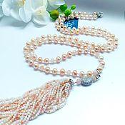 Украшения handmade. Livemaster - original item Sautoir of pink opal, pearls, morganite