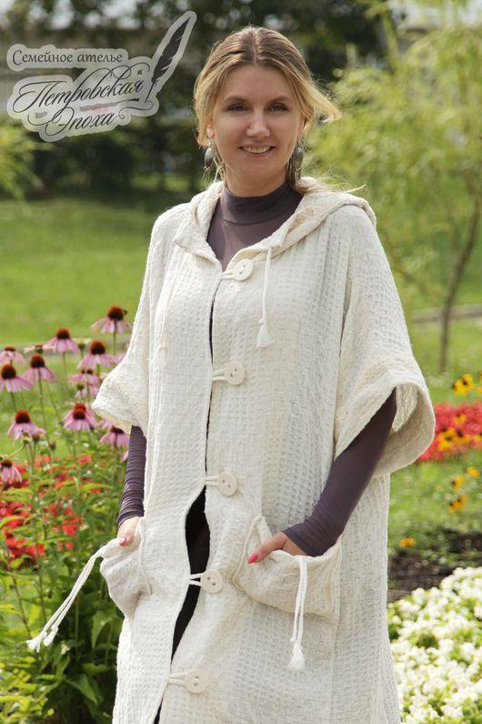 Верхняя одежда ручной работы. Ярмарка Мастеров - ручная работа. Купить Пальто из льна с коротким рукавом. Handmade. БЕЛОЕ ПАЛЬТО