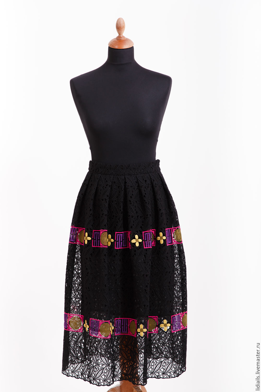 Black lace skirt with ornament, Skirts, Nizhny Novgorod,  Фото №1