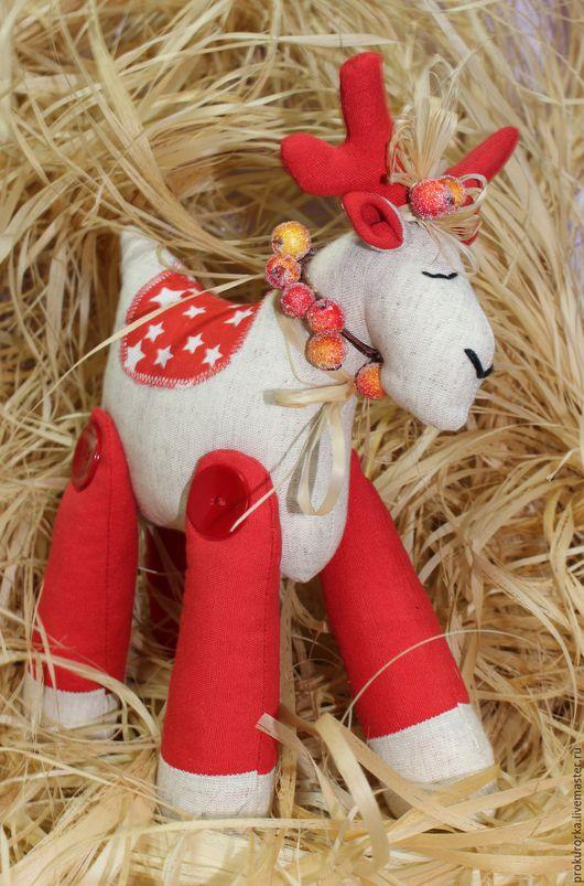 Игрушки животные, ручной работы. Ярмарка Мастеров - ручная работа. Купить Новогодний олень. Handmade. Ярко-красный, олень тильда