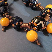 """Украшения ручной работы. Ярмарка Мастеров - ручная работа Бусы лэмпворк """"Синее море, желтый песок"""". Handmade."""