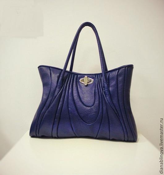 """Женские сумки ручной работы. Ярмарка Мастеров - ручная работа. Купить сумка кожаная """"Русс"""" синяя. Handmade. Тёмно-синий"""