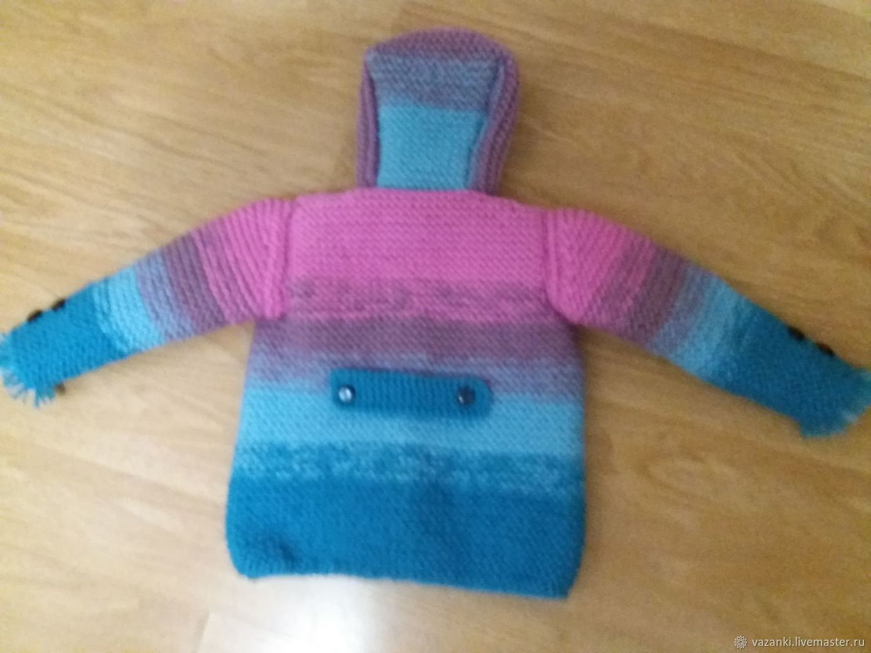 Вязаное пальто для девочек весна-осень