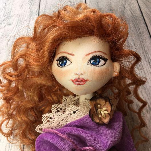 Коллекционные куклы ручной работы. Ярмарка Мастеров - ручная работа. Купить Текстильная кукла. Handmade. Сиреневый, кукла интерьерная