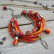 """Украшения handmade. Livemaster - original item Многорядный, стильный женский браслет с камнями """"Краски радости"""". Handmade."""