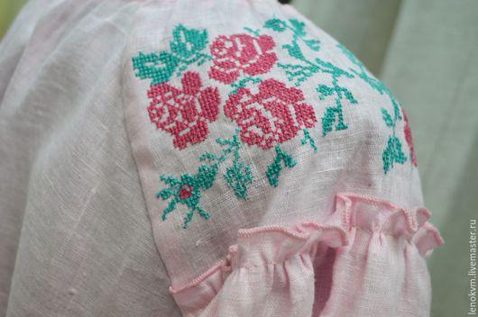 Блузки ручной работы. Ярмарка Мастеров - ручная работа. Купить Блузка изо льна с вышивкой Алена. Handmade. Бледно-розовый