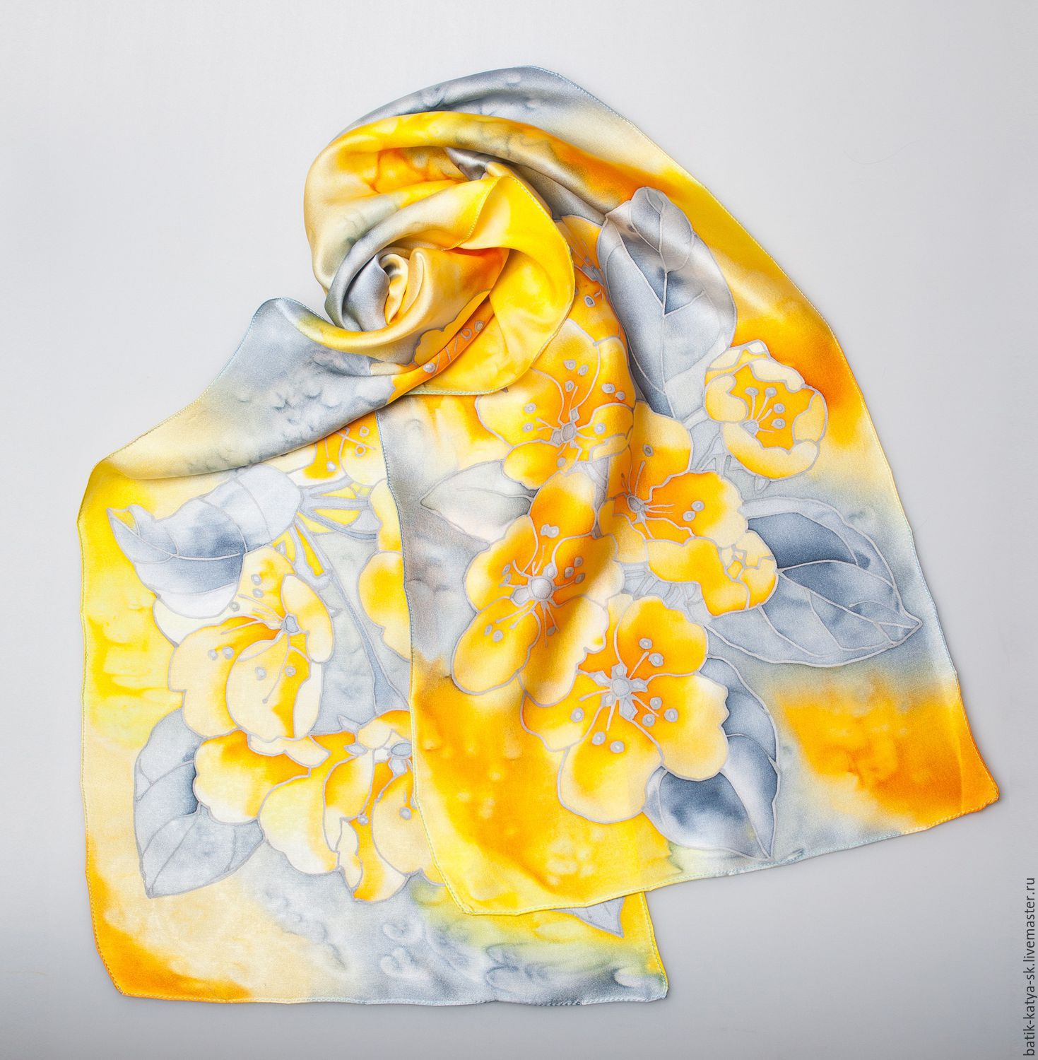 Batik silk scarf yellow flowers shop online on livemaster with scarves handmade livemaster handmade buy batik silk scarf yellow flowers mightylinksfo