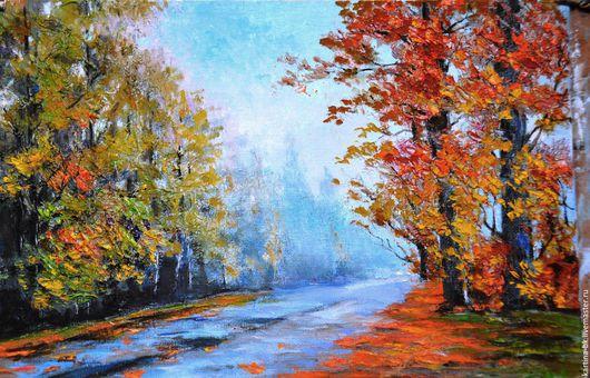 Пейзаж ручной работы. Ярмарка Мастеров - ручная работа. Купить дорога в осеннем лесу. Handmade. Осень, дорога, мастехин