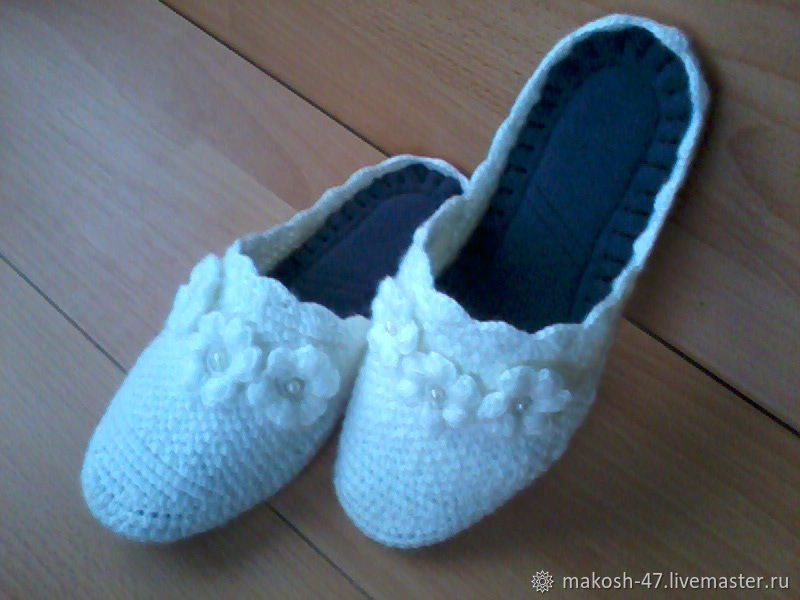 Knitted bedroom Slippers - flip flops ( the wool ), Slippers, Vyazniki,  Фото №1