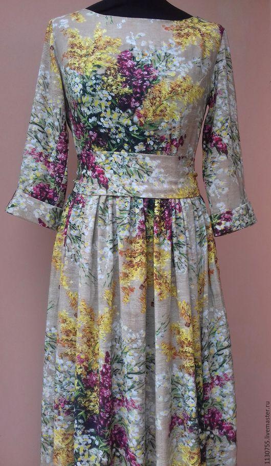 """Платья ручной работы. Ярмарка Мастеров - ручная работа. Купить Платье  в пол, платье миди """" Мимоза"""" из штапеля. Handmade."""