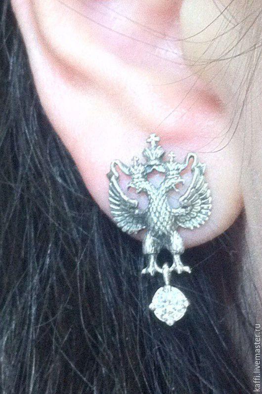 Серьги-гвоздики в виде двуглавого орла ( для настоящих патриотов:)), изготовлены из серебра 925 пробы, с фианитами.