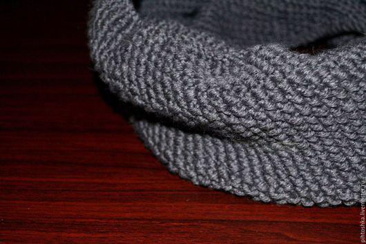 Шарфы и шарфики ручной работы. Ярмарка Мастеров - ручная работа. Купить вязаный снуд. Handmade. Темно-серый, снуд женский