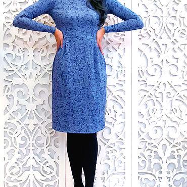Одежда ручной работы. Ярмарка Мастеров - ручная работа Платье синее с защипами 159. Handmade.