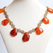 Колье, украшение на шею, Природный янтарь на цепочке из латуни