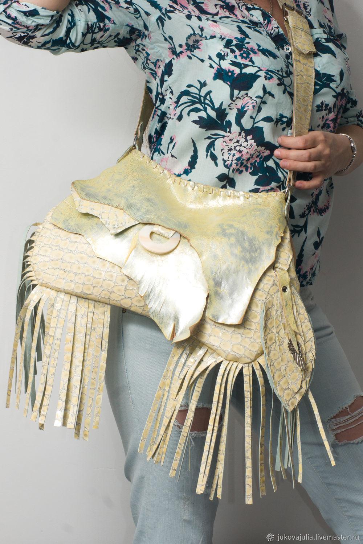 Shoulder bag, genuine leather, silver sheepskin. Silver pearl, Crossbody bag, Stavropol,  Фото №1