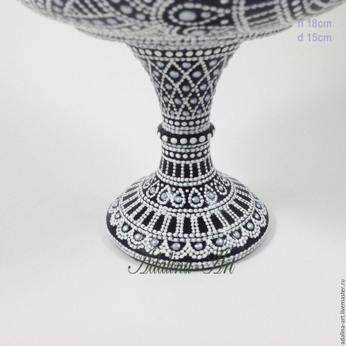 Конфетница белый танец ваза кубок Точечная роспись
