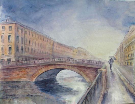 Город ручной работы. Ярмарка Мастеров - ручная работа. Купить Акварель Дождь на Каменном мосту (Санкт-Петербург). Handmade.
