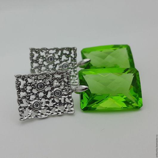"""Серьги ручной работы. Ярмарка Мастеров - ручная работа. Купить """"Luminance"""" - серьги. Handmade. Ярко-зелёный, серьги с камнями"""