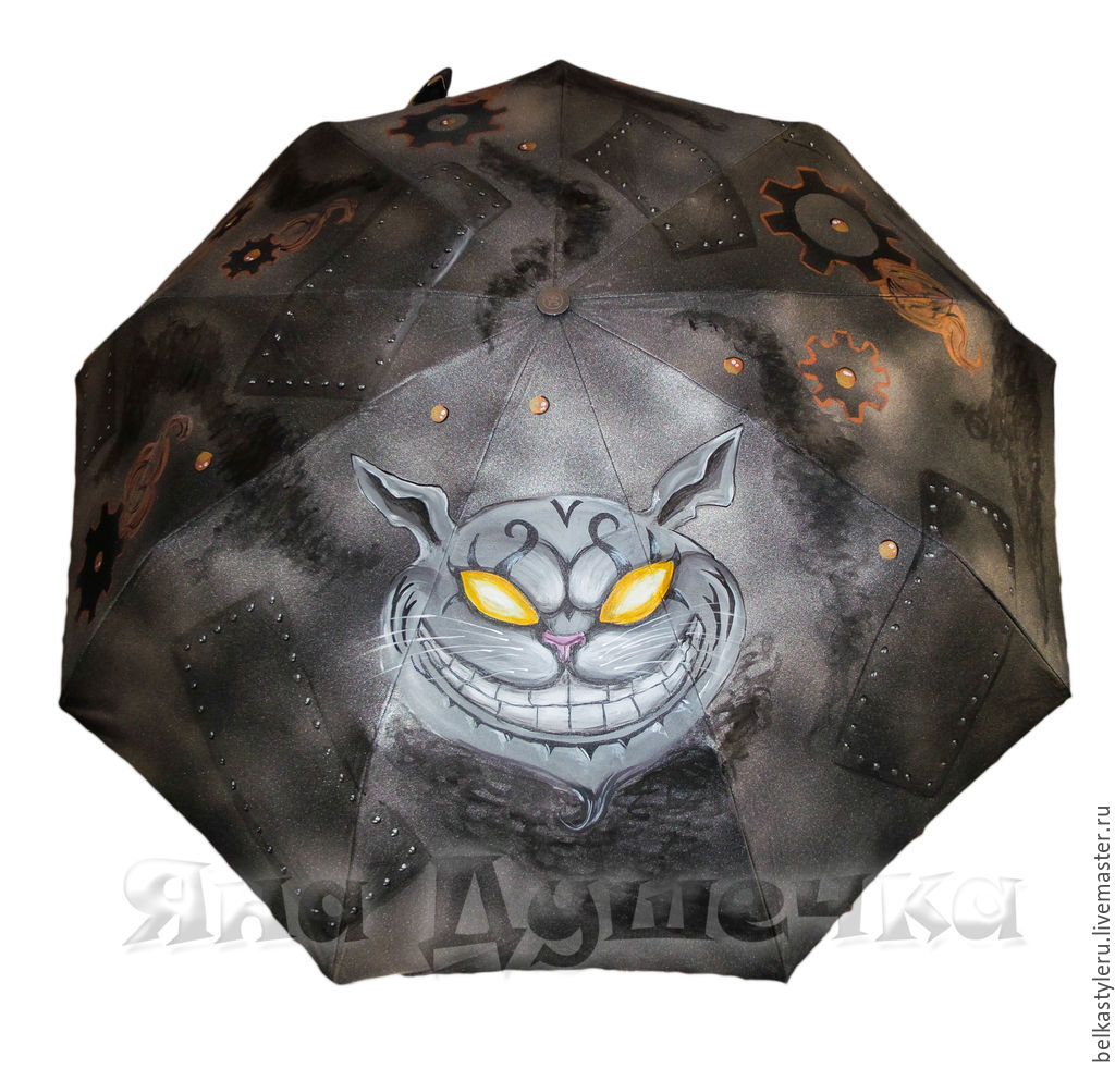 Umbrella parasol hand painted Cheshire cat steampunk, Subculture Attributes, St. Petersburg,  Фото №1