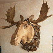Голова лося из дерева с рогами