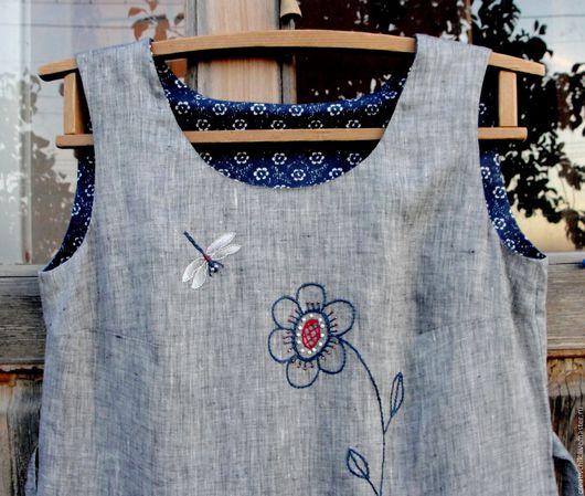 Платья ручной работы. Ярмарка Мастеров - ручная работа. Купить Летнее платье льняное Стрекоза. Handmade. Летнее платье для женщины