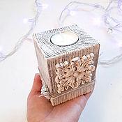 Для дома и интерьера handmade. Livemaster - original item Wooden shabby chic candlestick with ornament. Handmade.