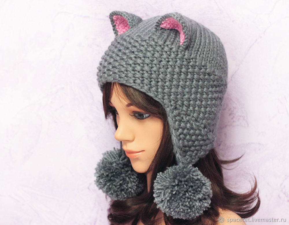 Hat cat ears Cat with POM-POM, grey knitted women's – shop ...